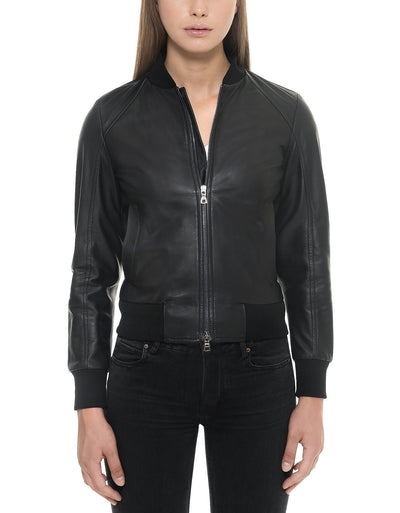 Black leather Jacket Women - Maherleather