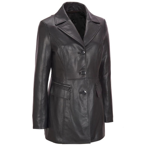 Black Leather Long Coast Women - Maherleather