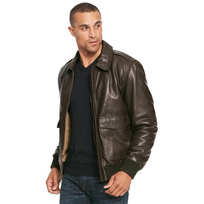 Bomber Lamb Brown Leather Jacket - Maherleather