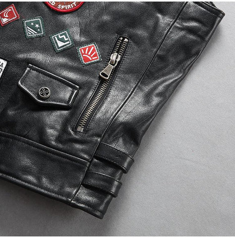 Fashion Locomotive Style Genuine Leather Vest Motorcycle Biker Waistcoat Cowhide Vest Short Slim Fit Real Leather Vest - Maherleather