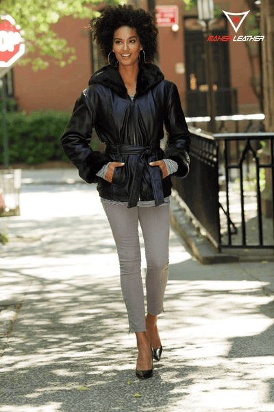 Hooded Leather Bomber Jacket Womens - Maherleather