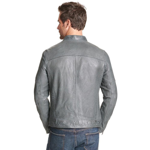 Maher Leather Gray Leather Jacket Men's - Maherleather