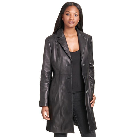 Maher Leather Notch Collar Button Down Lamb Coat - Maherleather