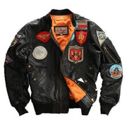 Men Black Top Gun Leather Pilot Jacket Real Sheepskin Men Winter