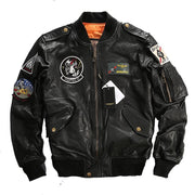 Men Black Top Gun Leather Pilot Jacket Real Sheepskin Men Winter Military Russian Coat - Maherleather