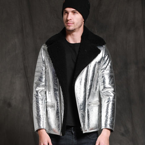New Silver Sheepskin Fur Coat Men Winter Real Sheepskin Jacket 2020 - Maherleather