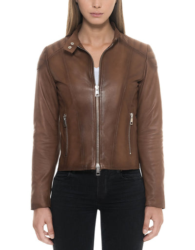 Padded Leather Jacket Brown Women - Maherleather