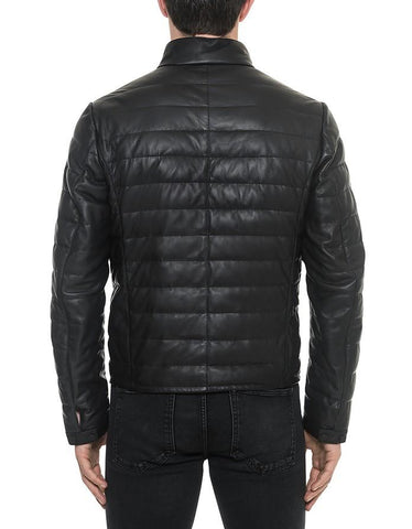 Quilted Leather Jacket Black - Maherleather
