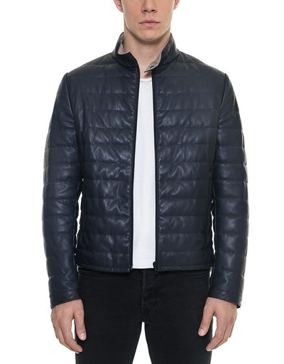 Quilted Leather Jacket Dark Blue - Maherleather