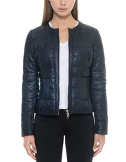 Quilted Leather Jacket Dark Blue Women - Maherleather