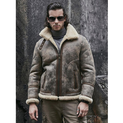 Shearling Coat Mens B3 Bomber Jacket Sheepskin Coat Leather Jacket
