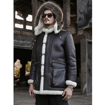 B3 Bomber Jacket Hooded Leather Jacket Shearling Coat Mens Brown
