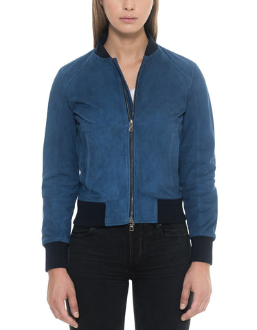 Suede Leather Jacket Blue Women - Maherleather