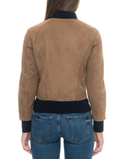 Suede Leather Jacket Brown Women - Maherleather