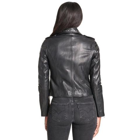 Vintage Asymmetrical Leather Jacket W/ Star Accents - Maherleather