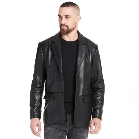 Web Buster Famous Maker Two Button Genuine Leather Blazer - Maherleather