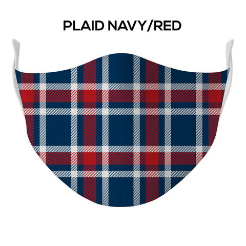 Plaid Navy/Red Face Mask - DYE/SUB