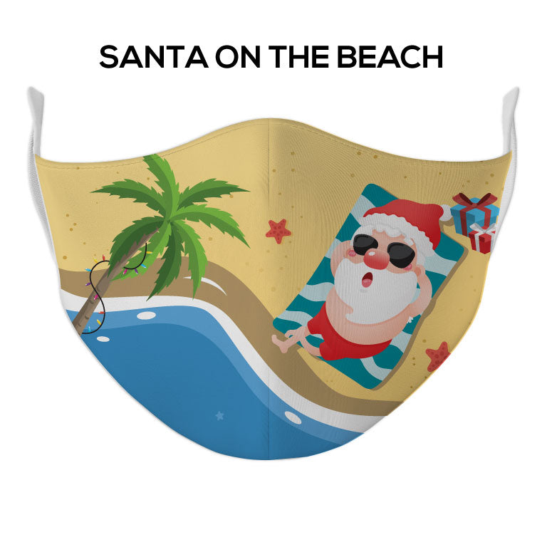 Santa on the Beach Face Mask - DYE/SUB