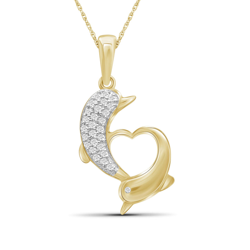 1/7 Ctw White Diamond 14K Gold over Silver Dolphins Pendant