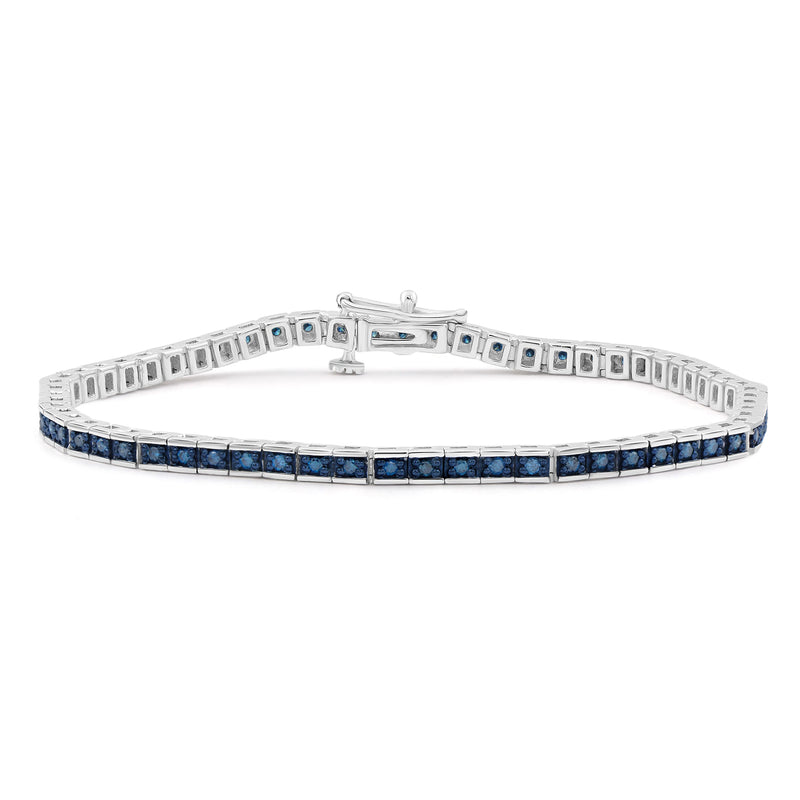 1.00 Carat T.W. Blue Diamond Sterling Silver Tennis Bracelet