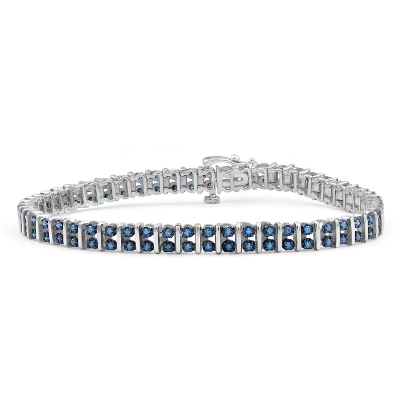 1.00 Carat T.W. Blue Diamond Sterling Silver 2 Row Bracelet