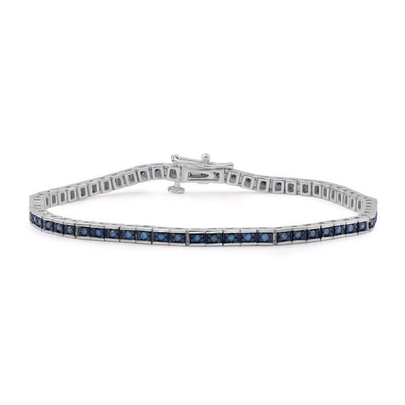 3/4 Carat T.W. Blue Diamond Sterling Silver Tennis Bracelet