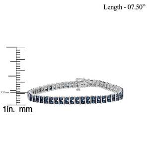 1 1/2 Carat T.W. Blue Diamond Sterling Silver 2 Row Bracelet
