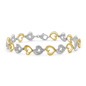 1/10 Carat T.W. White Diamond Two Tone Silver Heart Bracelet
