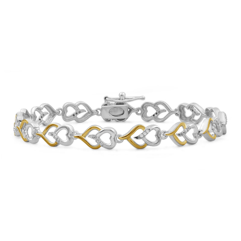 Accent White Diamond Two Tone Silver Heart Bracelet