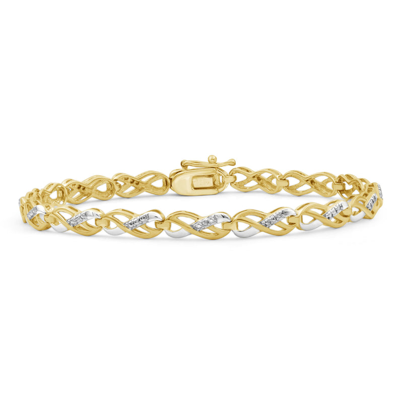Accent White Diamond Two Tone Silver Infinity Bracelet