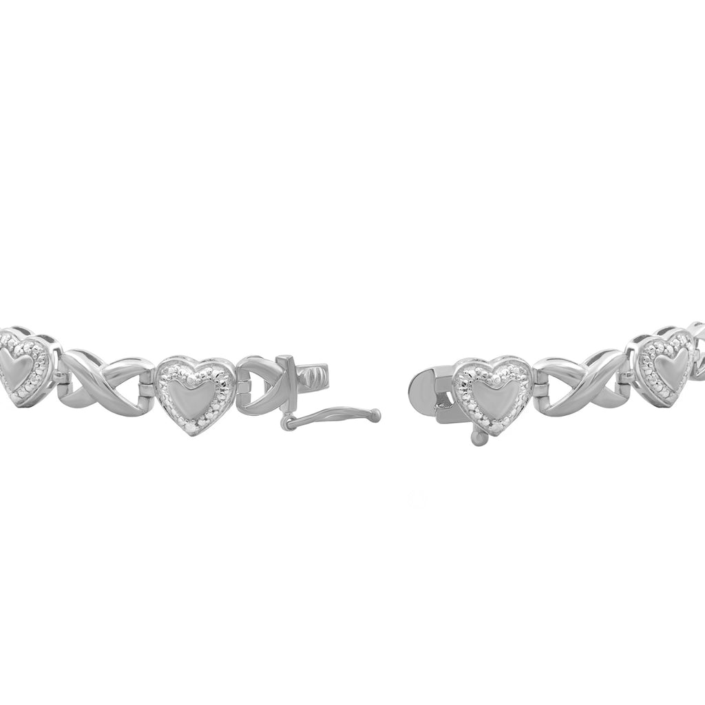 Accent White Diamond Sterling Silver Infinity MoM Bracelet - Assorted Colors