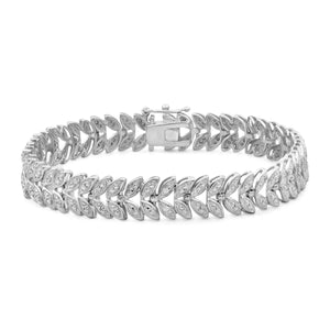 Accent White Diamond Sterling Silver Leaf Bracelet - Assorted Colors