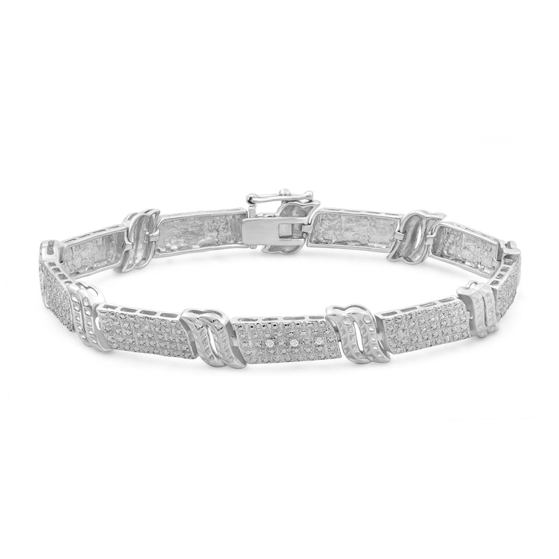 Accent White Diamond Sterling Silver Bracelet - Assorted Colors