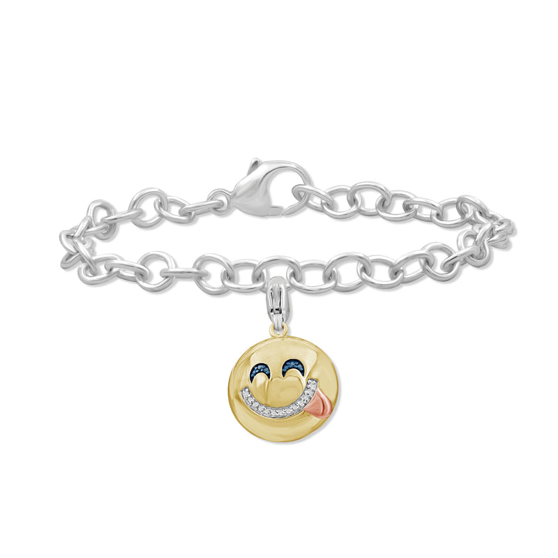 1/20 Ctw Blue And White Diamond Two Tone Sterling Silver Emoji Bracelet