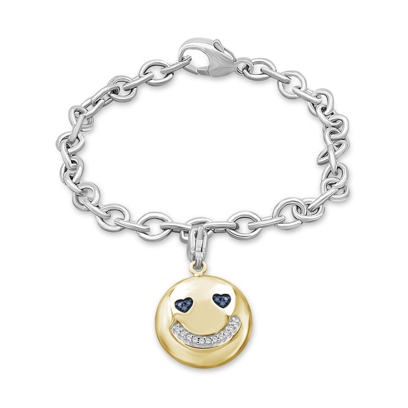 1/20 Ctw Blue And White Diamond 14k Gold Over Silver Emoji Bracelet