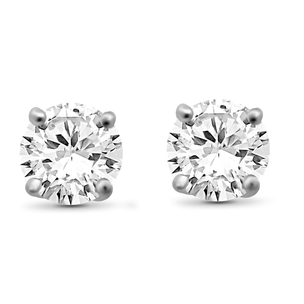 White Diamond 14K Gold Stud Earrings (I3 Clarity, IJK Color) - Assorted Colors