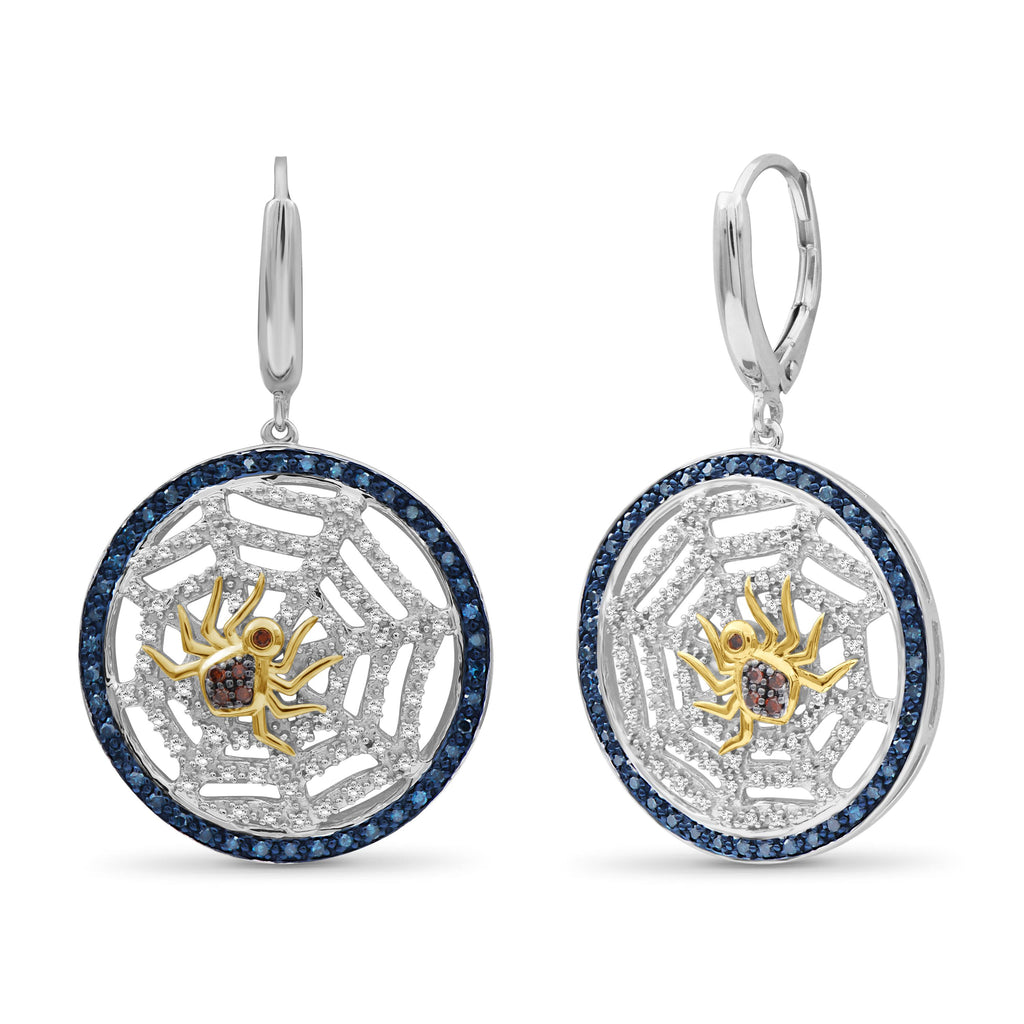 1/2 Ctw Multi Color Diamond Two-Tone Sterling Silver Spider with Net Dangle Earrings