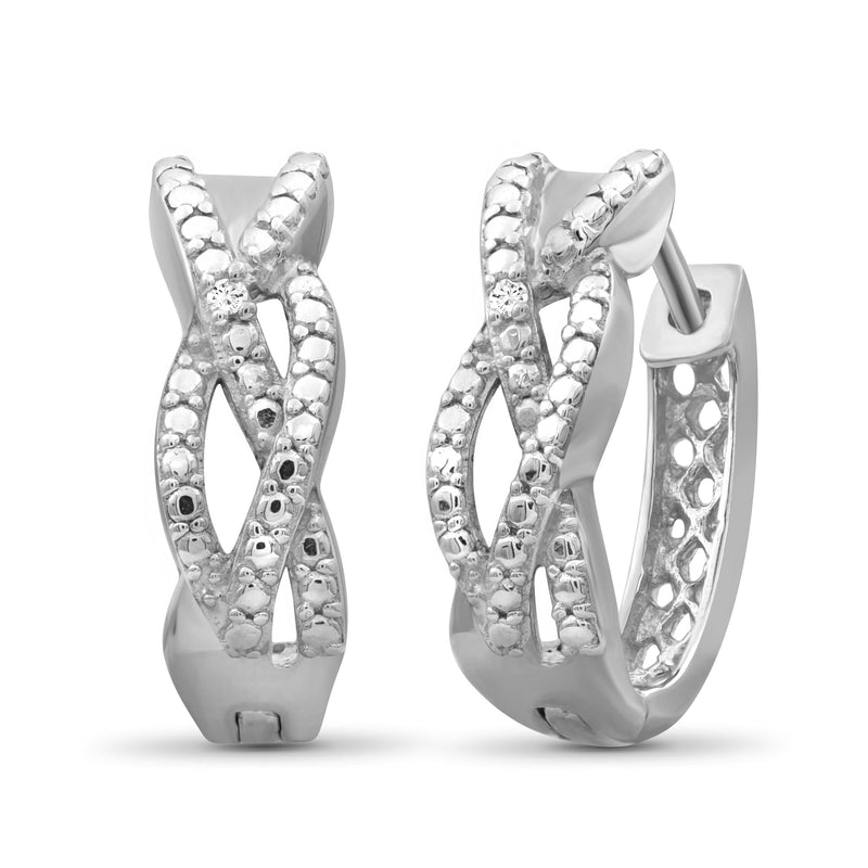 Accent White Diamond Sterling Silver Hoop Earrings - Assorted Colors