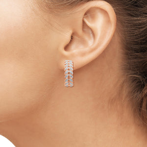 Accent White Diamond Rose Gold Over Silver Leaf Hoop Earrings
