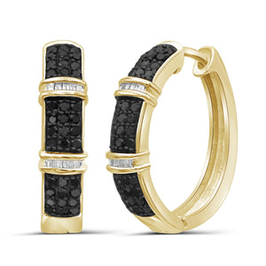 1.00 Carat T.W. Black And White Diamond Sterling Silver Hoop Earrings - Assorted Colors