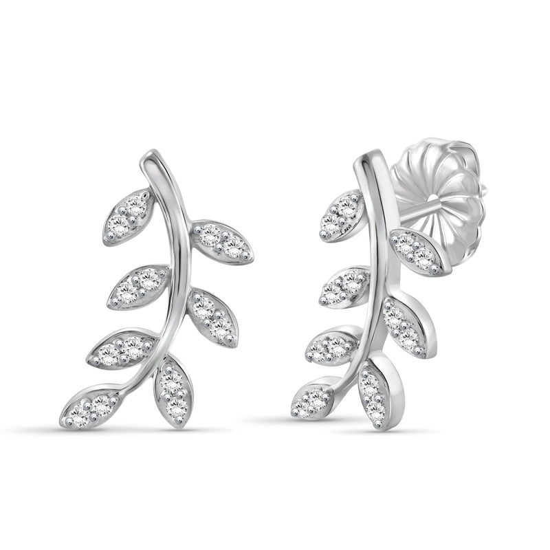 1/4 Carat T.W. White Diamond Sterling Silver Leaf Earrings - Assorted Colors