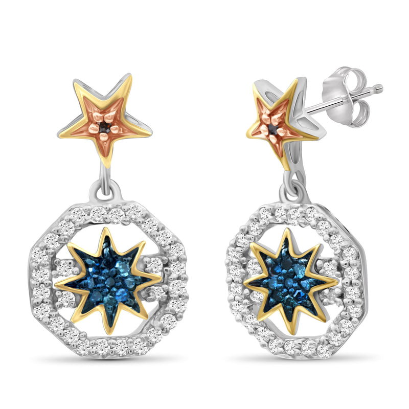1/5 Carat T.W. Multicolor Diamond Three Tone Silver Star Octagon Earrings