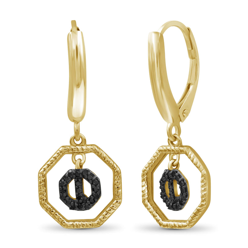 1/10 Carat T.W. Black Diamond 14k Gold Over Silver Octagon Earrings