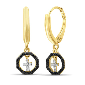 1/7 Carat T.W. Black And White Diamond Sterling Silver Cross Octagon Earrings - Assorted Colors