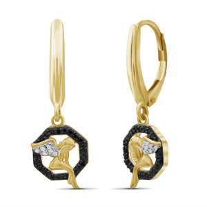 1/7 Carat T.W. Black And White Diamond Sterling Silver Angel Octagon Earrings - Assorted Colors