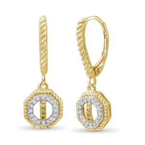 1/7 Carat T.W. Yellow And White Diamond Sterling Silver Octagon Earrings - Assorted Colors