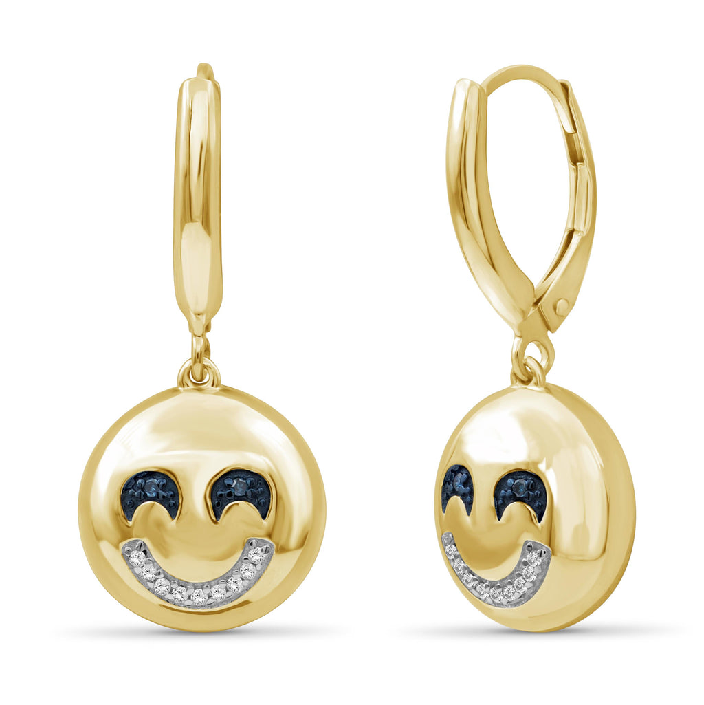 1/20 Ctw Blue And White Diamond 14k Gold Over Silver Emoji Earrings