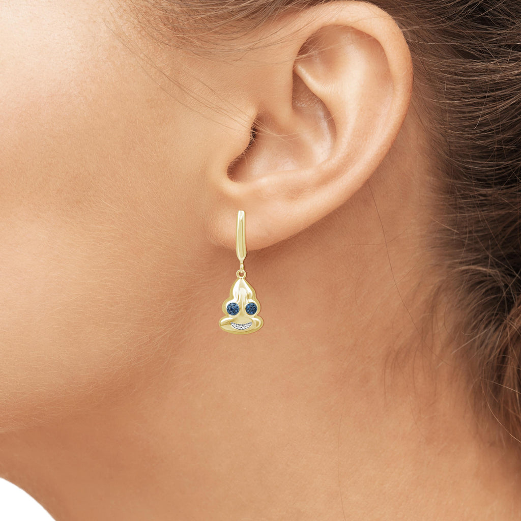 1/10 Ctw Blue And White Diamond 14k Gold Over Silver Emoji Earrings