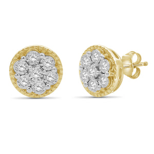 1/10 Ctw White Diamond 14K Gold Over Silver Stud Earrings