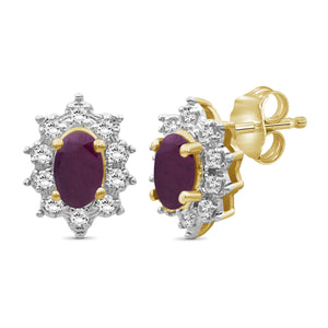 0.80 ctw Genuine Ruby & White Topaz Gemstone 14K Gold Over Silver Stud Earrings